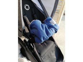 Baby rukávník - softshell džinovina / růžově pudrové minky  na madlo kočárku