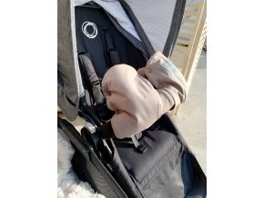 Baby rukávník - softshell hnědý/černé minky  na madlo kočárku