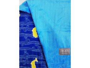 Tenká deka - velryby ve vlnách / modré minky