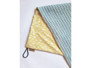 Bavlněná deka - osuška žluté mráčky / waffle mint
