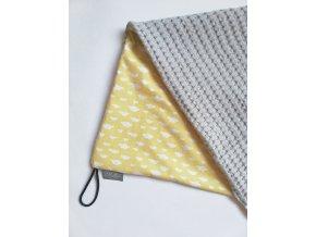 Bavlněná deka žluté mráčky / waffle šedá
