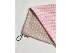 Bavlněná deka šedé kapky / waffle růžová