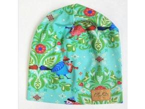 Čepice dvouvrstvá - tyrkysoví ptáčci