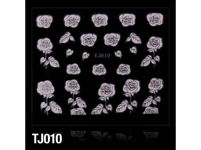 naklejki 3d kwiatki tj010 pudrowy roz ze srebrna obwodka arkusz