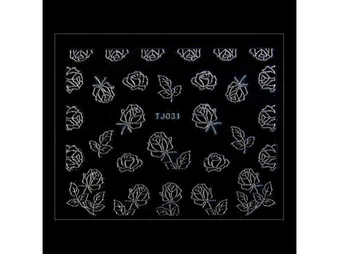 naklejki 3d kwiatki tj031 czarne ze srebrna obwodka arkusz
