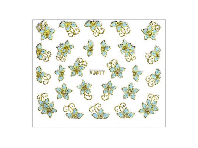 naklejki 3d kwiatki tj017 niebieska ze zlota obwodka arkusz
