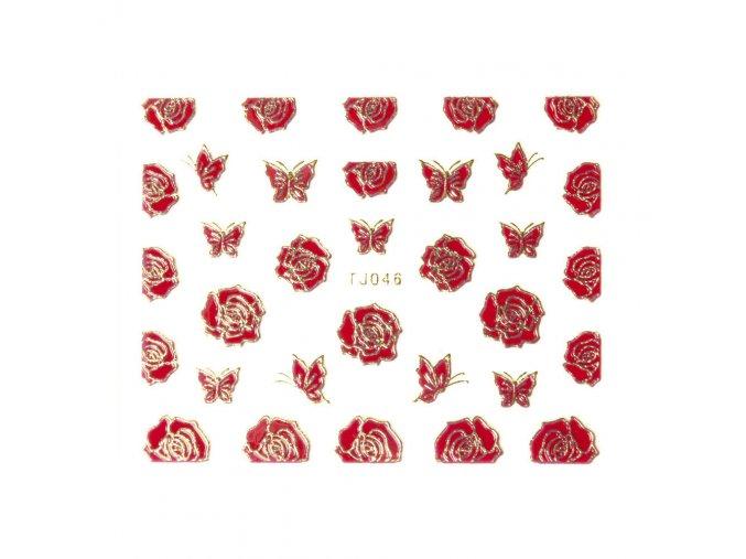 naklejki 3d kwiatki tj046 czerwona ze zlota obwodka arkusz
