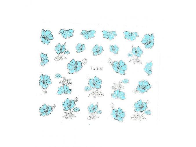 naklejki 3d kwiatki tj005 niebieskia ze srebrna obwodka arkusz