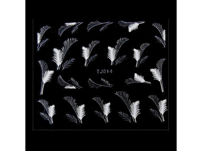 naklejki 3d kwiatki tj014 biala ze srebrna obwodka arkusz