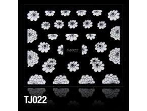 naklejki 3d kwiatki tj022 biale ze srebrna obwodka arkusz