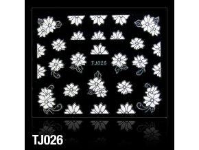 naklejki 3d kwiatki tj026 biale z srebrna obwodka arkusz