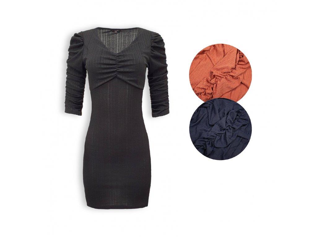 Dámské šaty s nabíranými rukávy