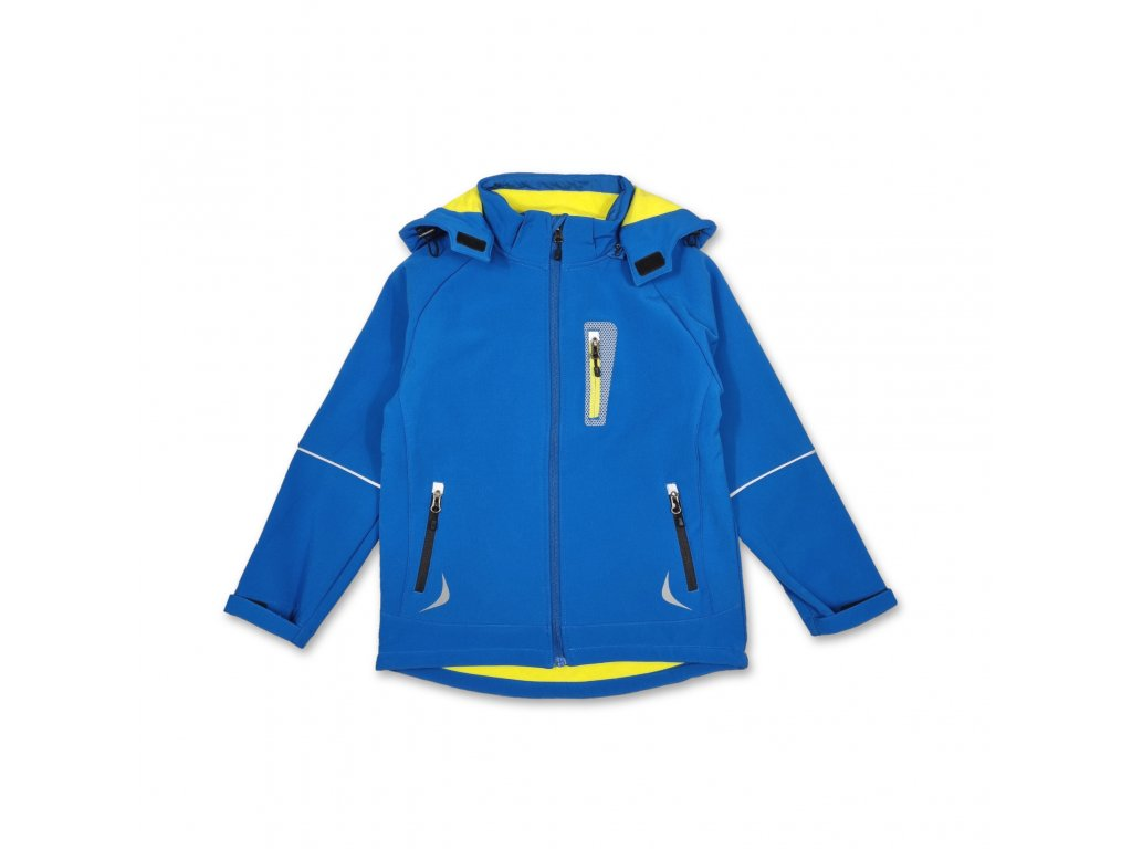Dětská softshellová bunda KUGO modro-žlutá