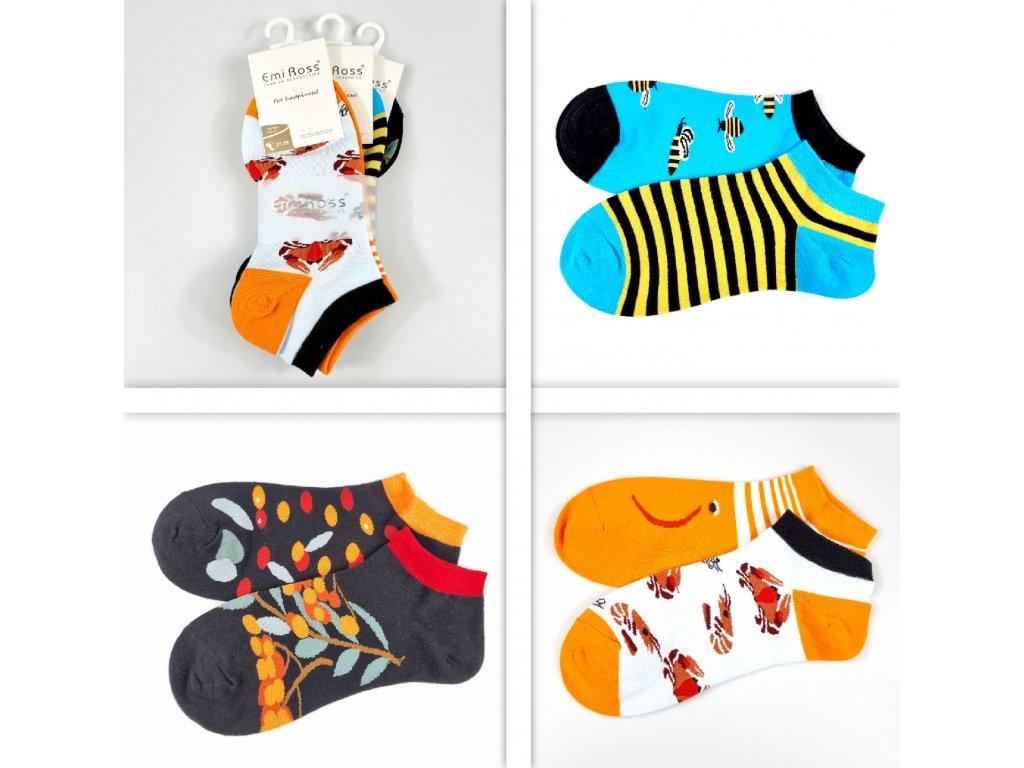 Dámské veselé kotníkové ponožky ZCC-3603 (3 páry)