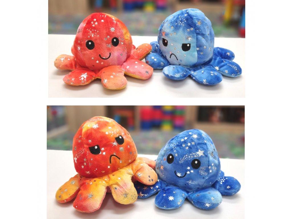 Náladová chobotnička s hvězdičkami - oboustranný plyšák