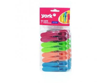 Kolíčky na prádlo barevné 16 ks extra