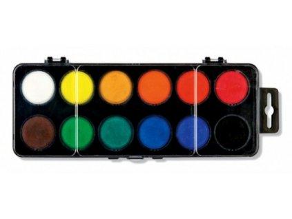 Vodové barvy velké, 12 odstínů, průměr 30 mm