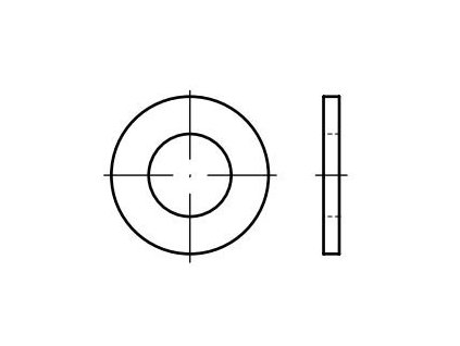 Podložky ploché DIN 125, rozměr M6, pro 6hranné šrouby, balení 40 kusů