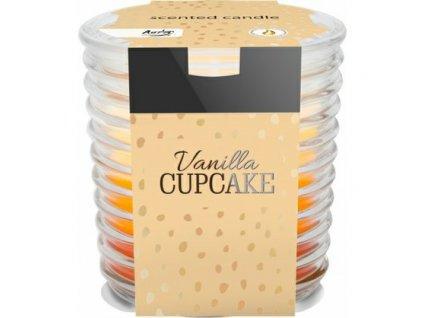 bispol tribarevna svicka v kulatem skle vanilla cupcake