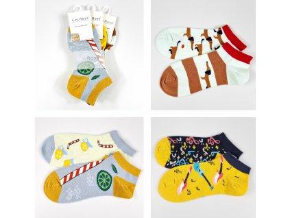 Dámské veselé kotníkové ponožky ZCC-3602 (3 páry)
