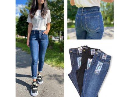 Skinny džíny s vysokým pasem BLUE