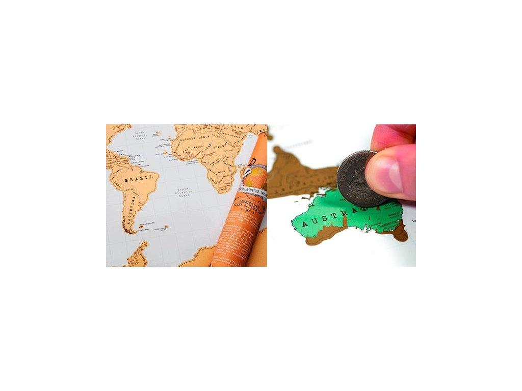 Stírací mapa světa - luxusní dárek!