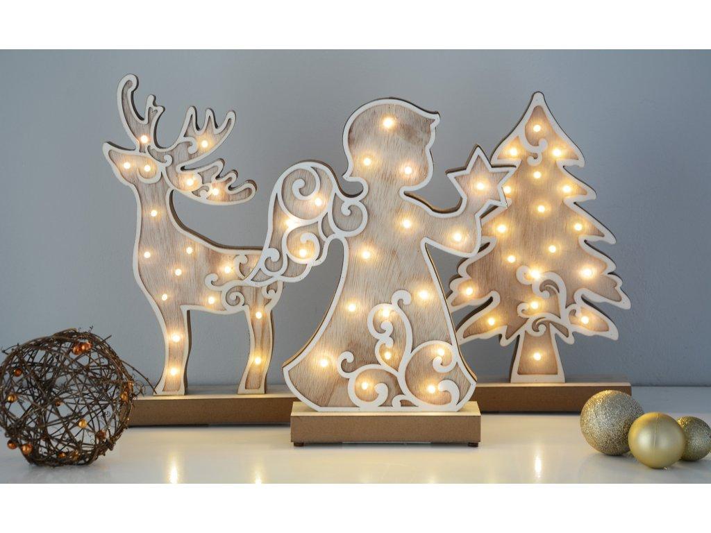 Dřevěná vánoční dekorace (5 typů)