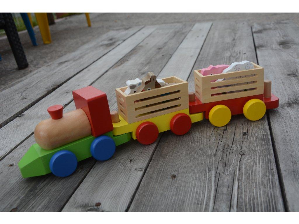 Dřevěná mašinka s farma zvířátky