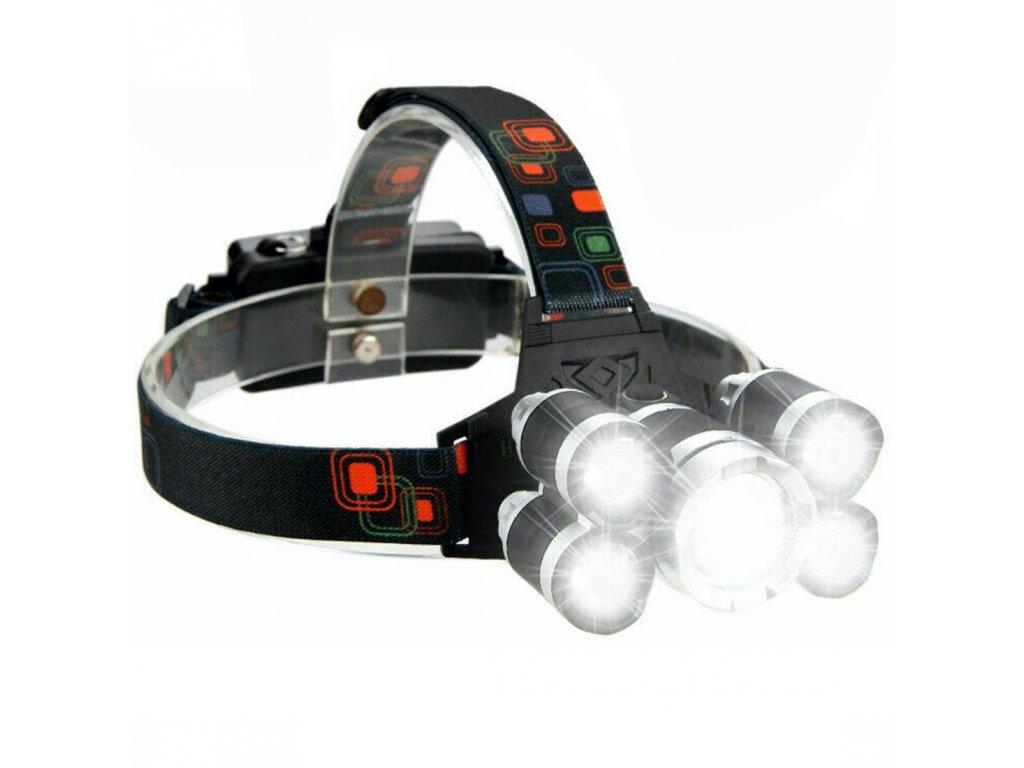 headlamp celovka 5x led 1 cerna