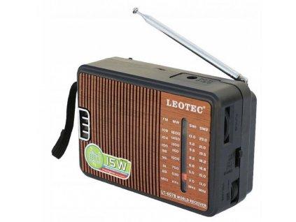 Přenosné bezdrátové rádio Leotec LT-607B FM,AM - imitace dřeva