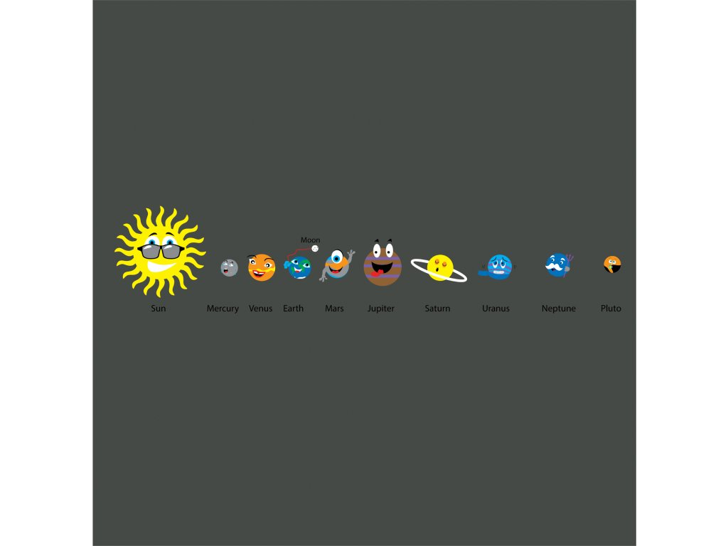TME020 1 Solar system with fun faces 1