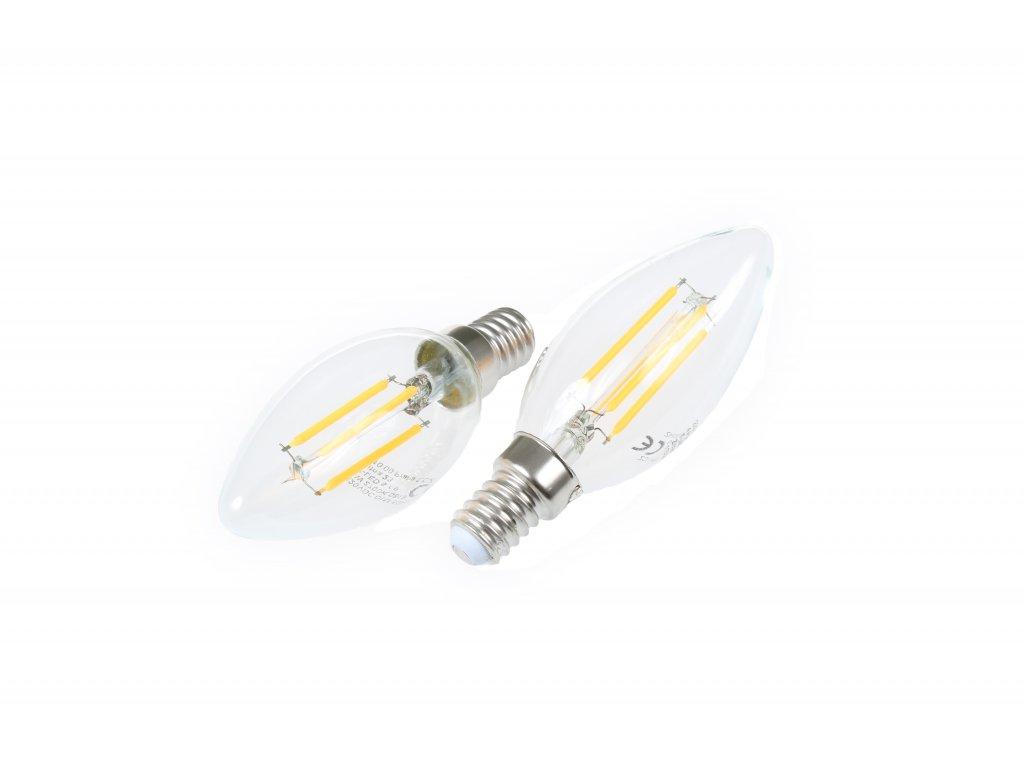 LED žárovka E14 DIMF4W FILAMENT C35 TEPLÁ BÍLA