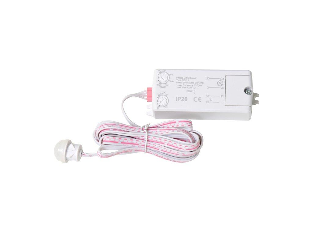 pohybový senzor PIR zápustný nábytkový na 230V  max. 500W pro LED zařízení EST129-BI