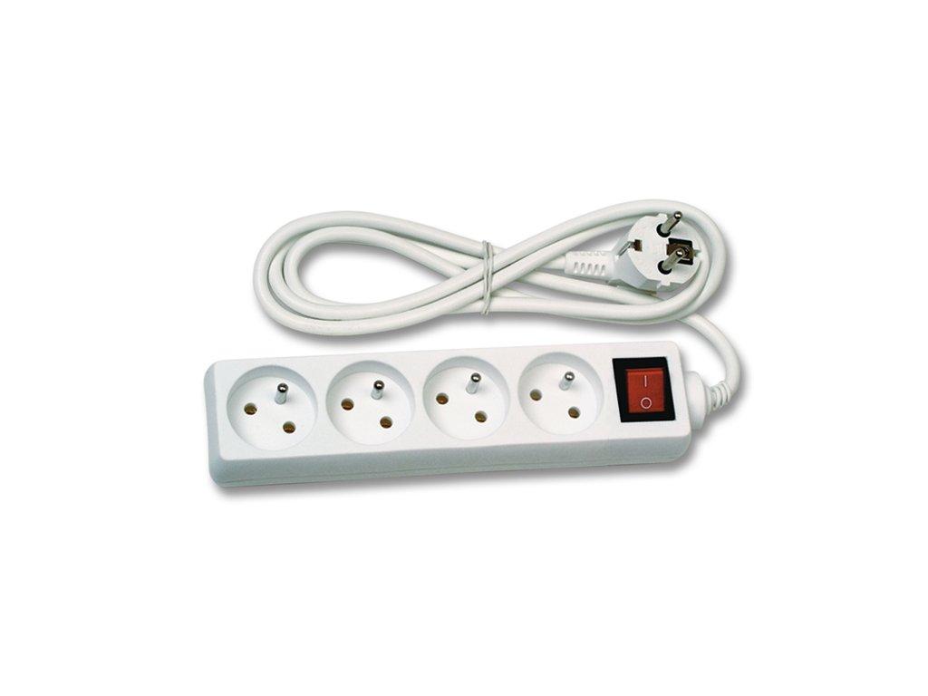 Prodlužovací kabel 5m, 4zásuvky s vypínačem