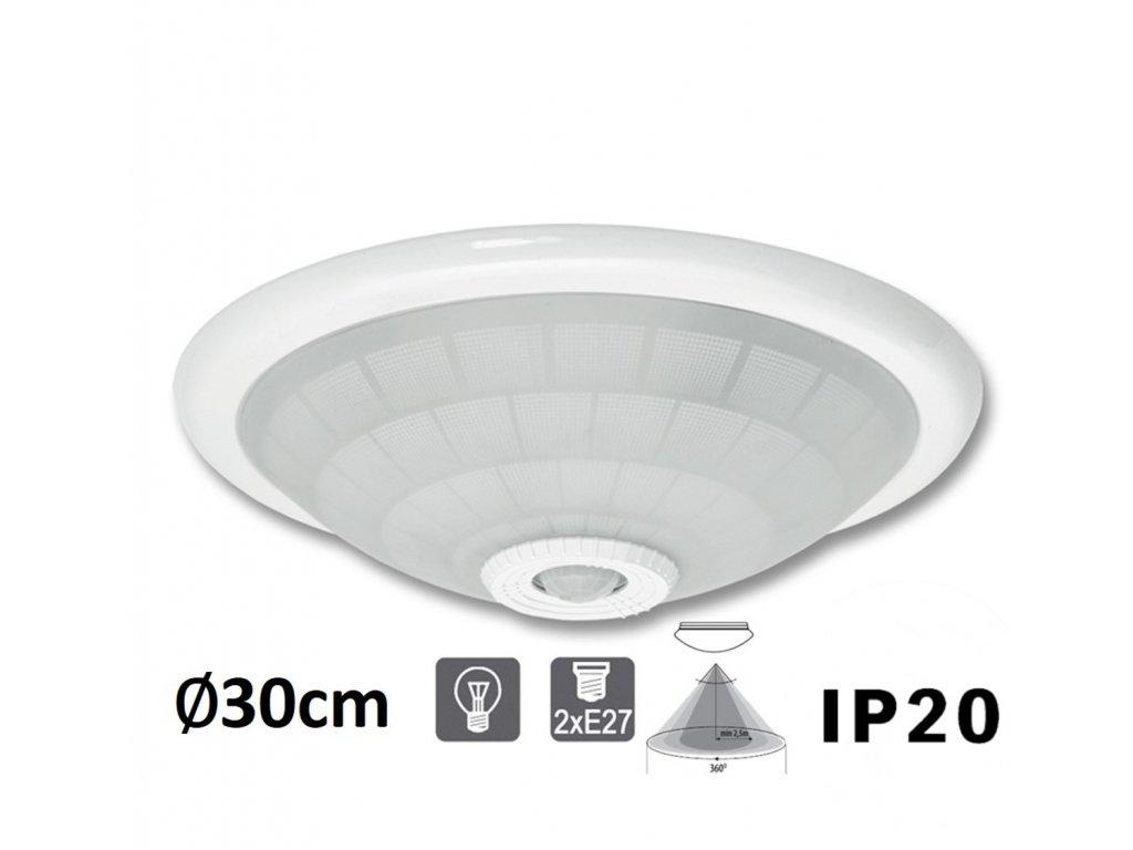 VERA WHST78 BI stropní nástenné svítidlo skleněné 2x E27 pro žárovku PIR senzor pohybu MaxLumen.cz