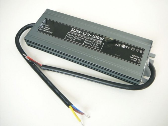 LED zdroj, trafo,100W, 12V IP67 venovní voděodolný MaxLumen.cz