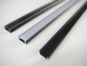 LED profil Mikro černý cirý mléčný kryt, maxlumne.cz