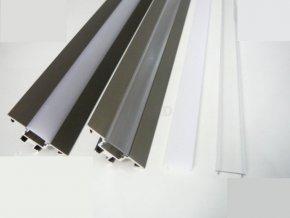 LED profil R1B rohový čirý mléčný kryt maxlumen.cz