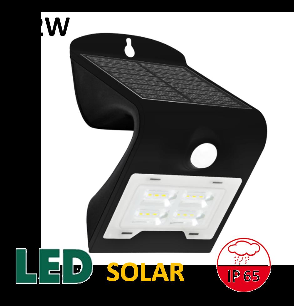 Venkovní LED solární osvětlení s čidlem 2W, černé | MaxLumen.cz