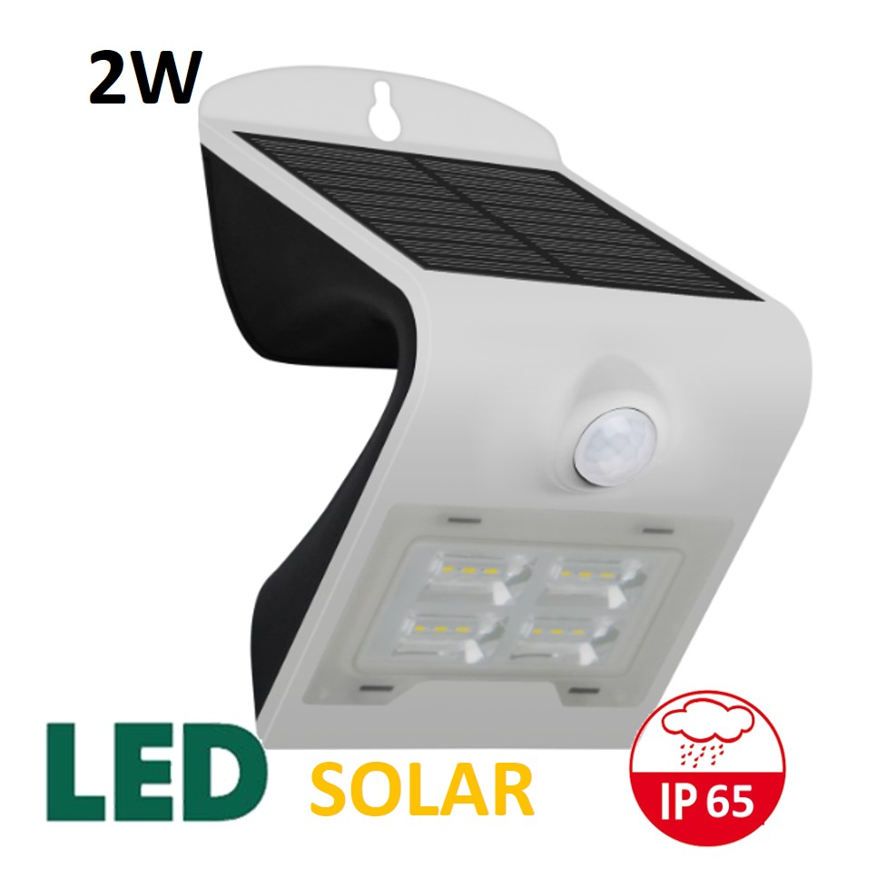Venkovní LED solární osvětlení s čidlem 2W, bílý | MaxLumen.cz