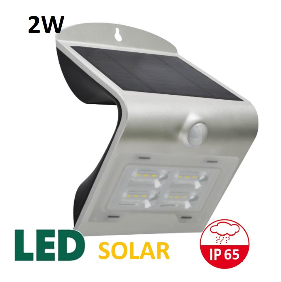 Venkovní solární LED osvětlení s čidlem 2W, stříbrný | MaxLumen.cz