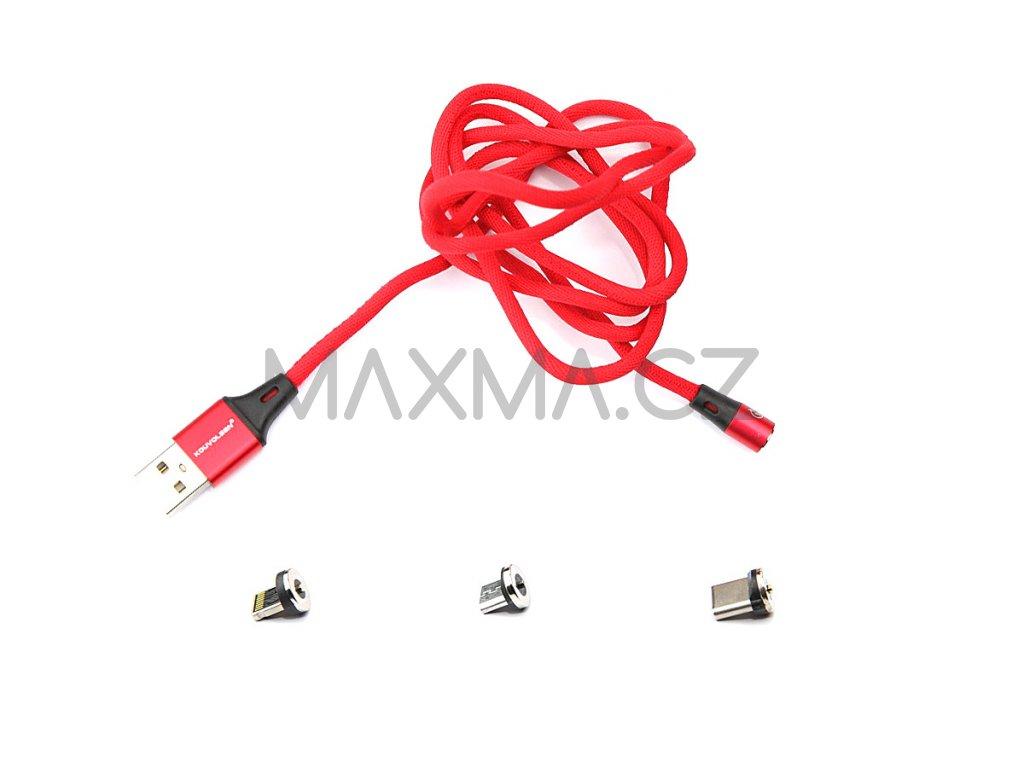 Kouvolsen magnetický kabel 3v1 Lightning/USB-C/micro-USB (X15) - červený