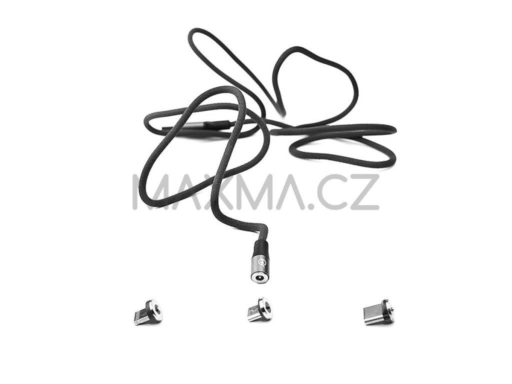 Kouvolsen magnetický kabel 3v1 Lightning/USB-C/micro-USB (X15) - černý