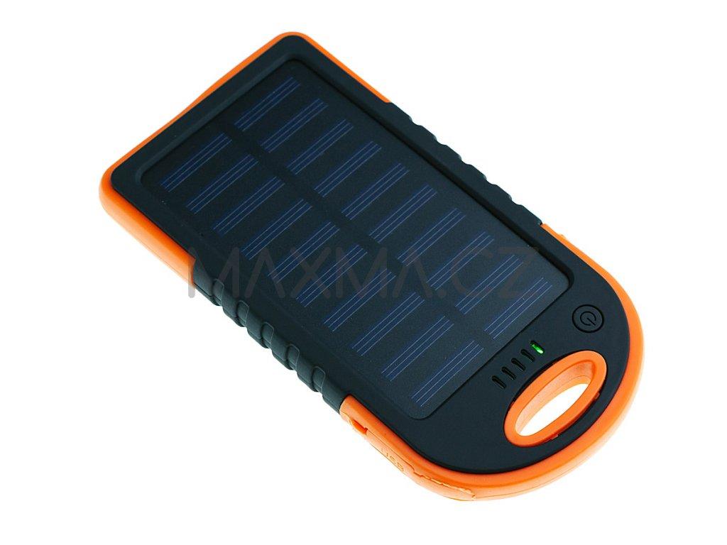Techfuerza solární powerbanka 10000 mAh - černá/oranžová
