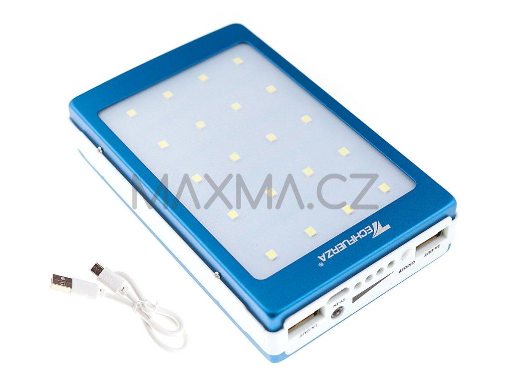 Techfuerza solární powerbanka 22000 mAh s LED světlem - modrá/bílá