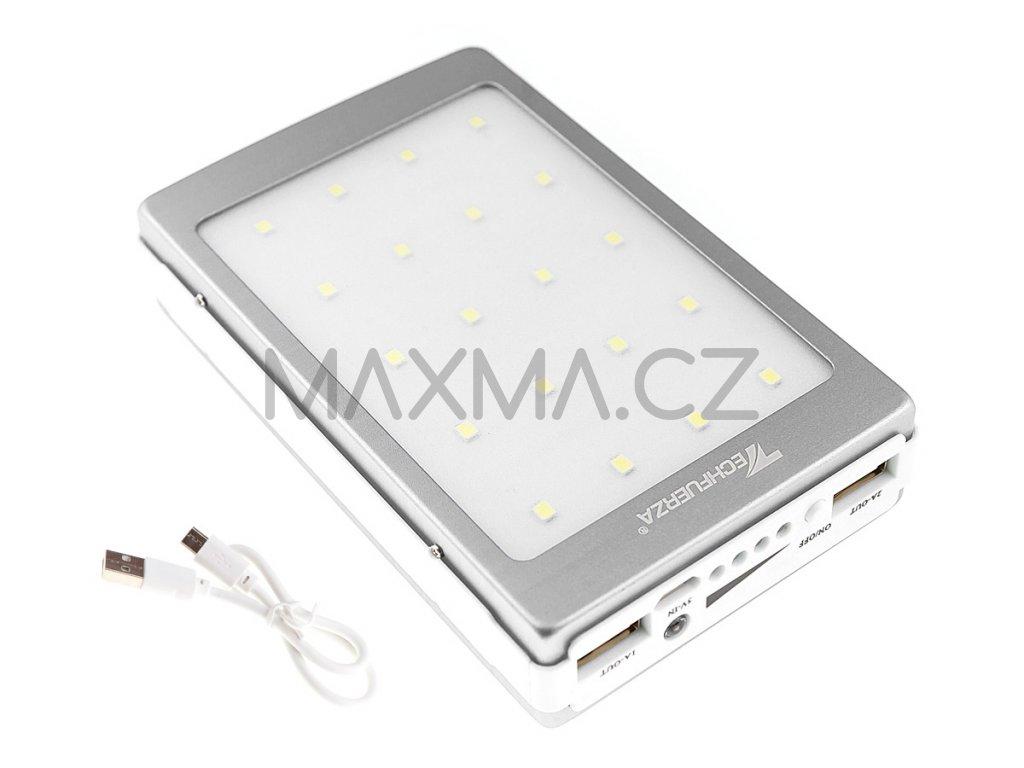 Techfuerza solární powerbanka 22000 mAh s LED světlem - stříbrná/bílá
