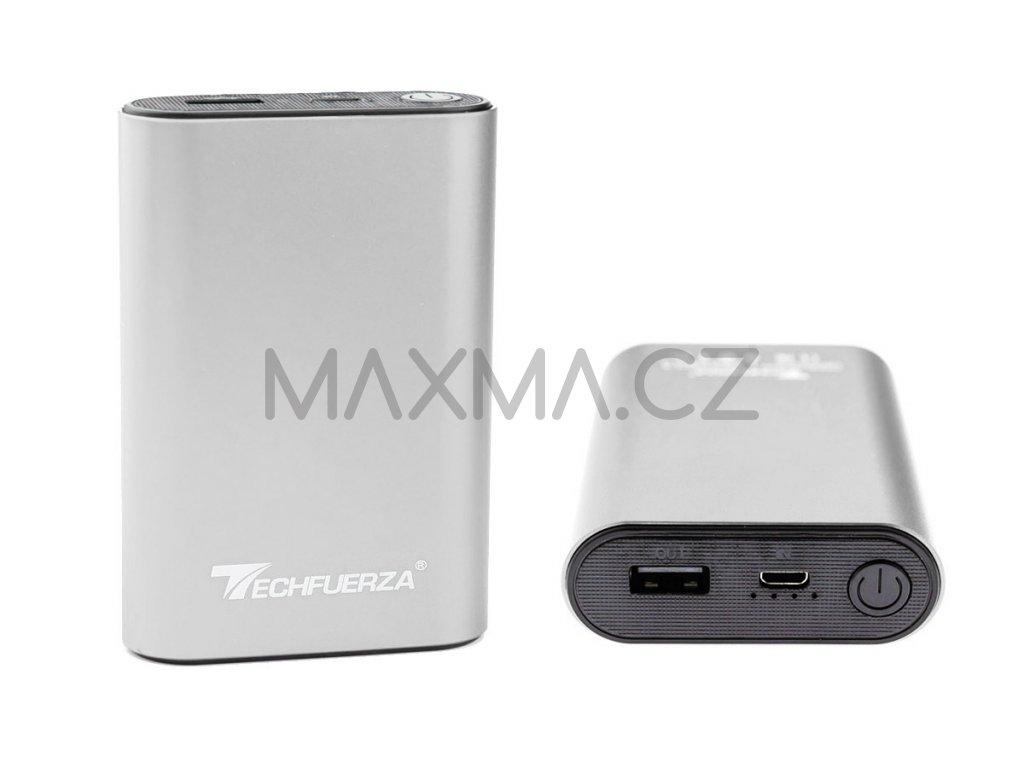 Techfuerza powerbanka 10400 mAh (Z-092) - stříbrná