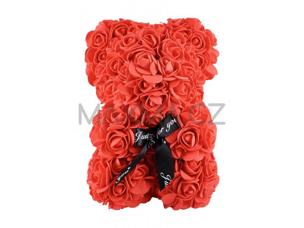 Medvídek z růží červený 25cm