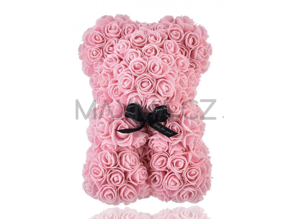 Medvídek z růží světlerůžový 35cm