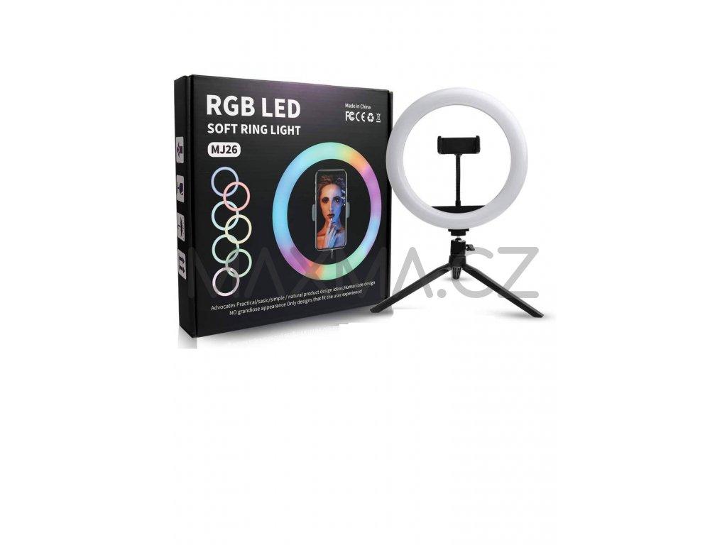 RGB Kruhové LED světlo se stativem 26 cm